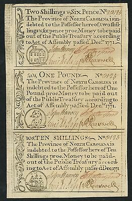 Click now to see the BUY IT NOW Price! NORTH CAROLINA COLONIAL CURRENCY        3 NOTE SHEET DEC. 1771 WLM1885