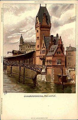 Hamburg  ~1900 Jungfernbrücke Brücke im Freihafen Hafen alte color Ansichtskarte
