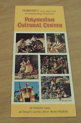 "VTG 1974 Hawaiian TRAVEL Brochure~""POLYNESIAN CULTURAL CENTER""~Hawaii MAP~"
