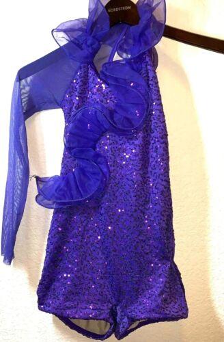 Weissman Purple Sequin One Sleeve Leotard Size MC MEDIUM Child Dance outfit