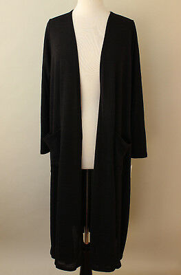 S Small LuLaRoe Sarah Noir Soft Solid Black Duster Cardigan NWT Major Unicorn !