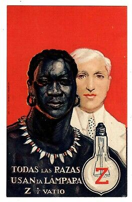 POSTCARD SPANISH Z ELECTRIC BULBS ADVERTISING ALL PEOPLE BLACK & WHITE (0119)