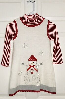 Bonnie Jean Girls Red & White Sweater Jumper Dress & Shirt Snowman Christmas 6X