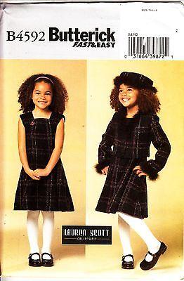 Butterick 4592 Girls Children Lined JACKET DRESS HAT Lauren Scott 6 7 8 Patterm