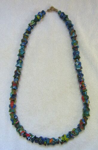 Vintage Native American Indian Millefiori Art Glass Trade Beads Jewelry Necklace