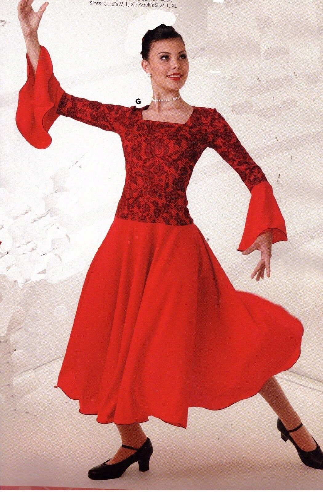 Latin Flamenco Dance Dress Lace Print Flounce Hem Red/blk...