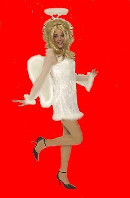 en Kostüm ENGEL Engelskostüm Kleid inklu. Flügel Heiligenschein (Süße Engel Kostüm)