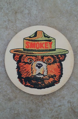 (4) SMOKEY BEAR WOOD COASTER SET OF (4) U.S. FOREST SERVICE RUSTIC NOS CLASSIC
