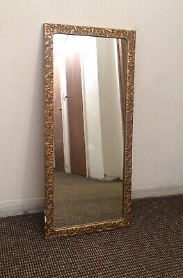 Vintage Retro 1960s 1970s Gold Plaster Wall Mirror