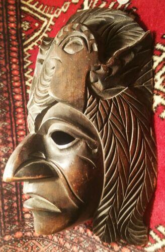 ANTIQUE aztec mayan wooden mask wall sculpture vtg native tribal bird carving