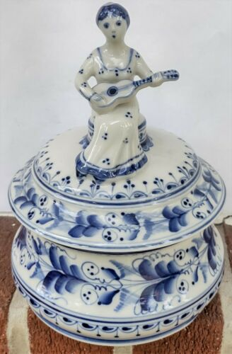 Vintage Signed Russian Gzhel Blue/White Porcelain Dresser Lid Jar-Woman w/Guitar