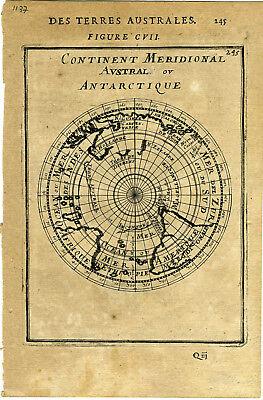 1683 Genuine Antique map South Polar projection. Antarctic.  A M Mallet