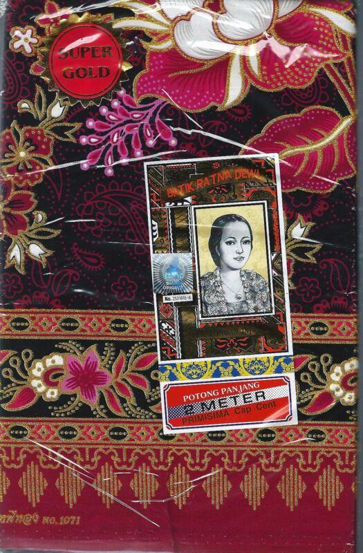 Batik Ratina Dewi Lovely Sarong Floral Black w/ Gold Accent 2 Meter New Free S/H