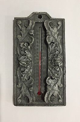 Vintage Victorian French Art Nouveau Style Heavy Wall Thermometer Gray Gothic