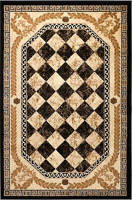 Black, gold beige checkered rug Smt #33a soft pile size options 2x3 3x5 5x7 - Black Gold Carpet
