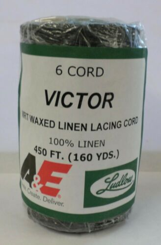 100% Victor Waxed Linen Lacing Cord-Black 450 ft. 6 Cord (160 yds.)