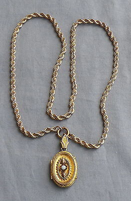 Vintage Antique Victorian Gold Filled Etruscan Picture Locket Necklace