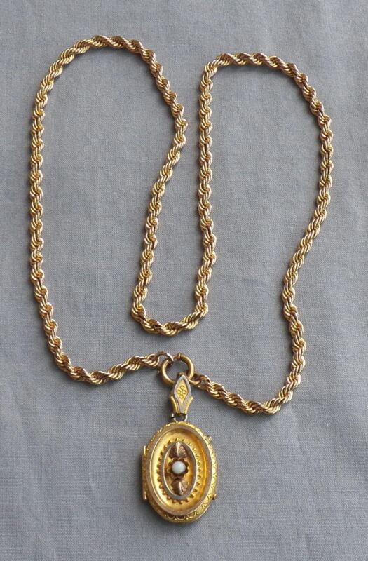 Vintage Antique Victorian Gold Filled Etruscan Picture Locket Necklace