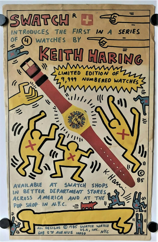 KEITH HARING SWATCH Wrist Watch Magazine Art Promo Ad Vintage Pop Shop NYC 1985