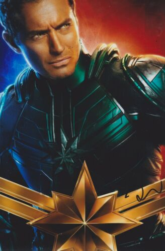 Jude Law Signed Captain Marvel 12x8 Photo AFTAL