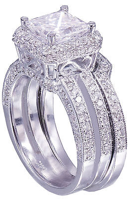 GIA G-VS2 14K white gold princess cut diamond engagement ring and band 2.50ctw 8