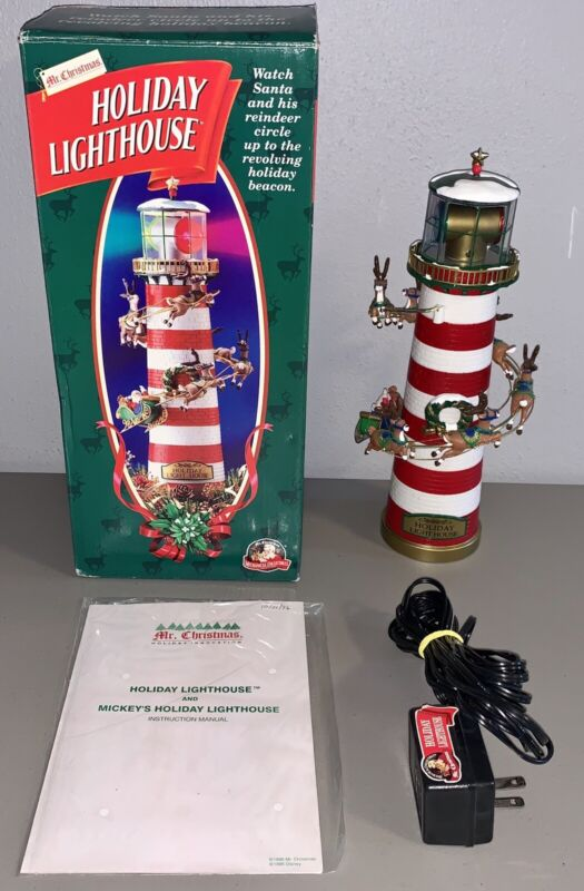 *MINT* 1996 Mr. Christmas Holiday Lighthouse Animated Lights Up Tree Topper