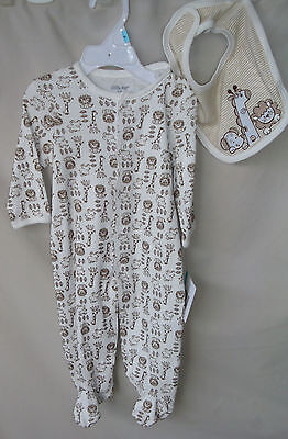 LITTLE ME 100% COTTON Off White SAFARI Print Footie w/Matching Bib BOY SIZES NWT