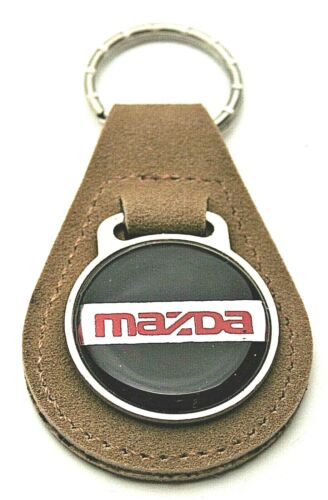 Vtg Mazda Creme Leather Automotive Car Metal Key Chain Brown FOB 1970s NOS New