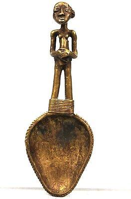 Art African Arts First - Spoon Bronze Baoulé - Billiards Ball Spoon - 13,5 CMS