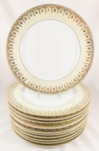 SET(s) 6 DINNER PLATES VINTAGE HEINRICH BAVARIA CHINA GOLD FILIGREE CREAM WHITE