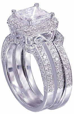 GIA G-VS2 14K white gold princess cut diamond engagement ring and band 2.50ctw