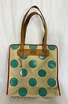 Fossil Canvas Tote Bag Large Linen And Tiffany Blue