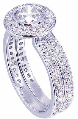GIA H-VS2 18K White Gold Round Cut Diamond Engagement Ring and Band Bezel 1.55ct 6