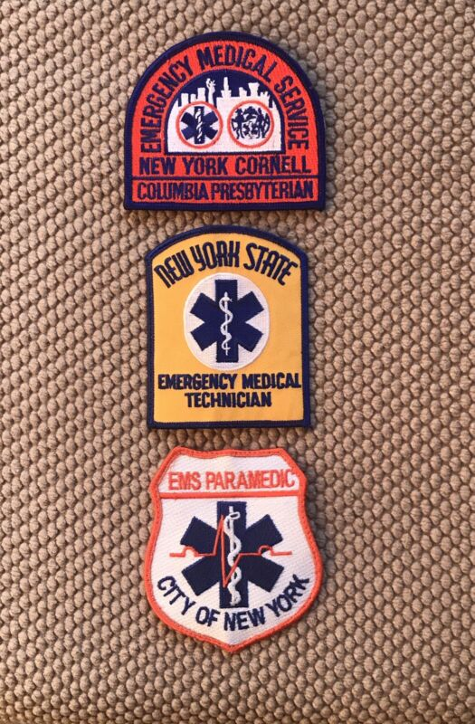 """NEW YORK EMS/EMT PATCH TRIO 4"""" IRON OR SEW ON"""