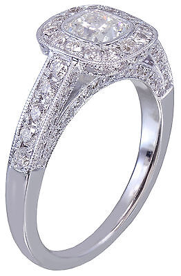 GIA D-SI1 14k White Gold Cushion Cut Diamond Engagement Ring Bezel Deco 1.70ctw 4