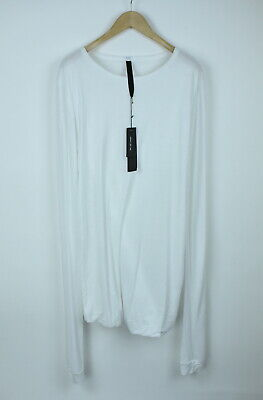 ARMY OF ME Men's SMALL Folded Hem Elongated White Stretch Jersey T-shirt 5479*
