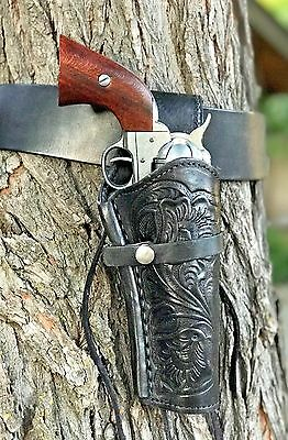 Hand Tooled Black Leather - BLACK Leather Holster and Belt Hand Tooled Embossed Leather Set 70203