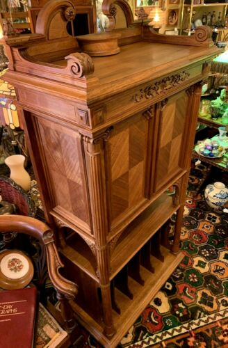French Art Nouveau Music Cabinet, Record Cabinet; Walnut, Rosewood, Superb!