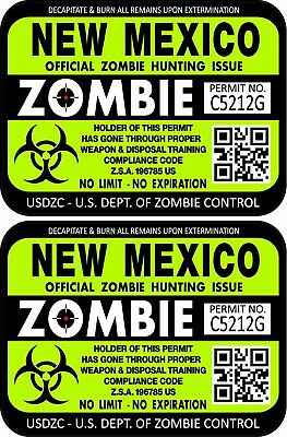 "ProSticker 1241 (Two) 3""x 4"" New Mexico Zombie Hunting License Decals Stickers"