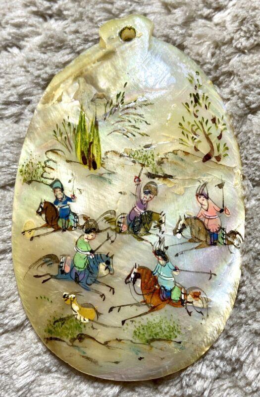 Vintage Hand Painted Persian Horsemen Mother Of Pearl Pendant