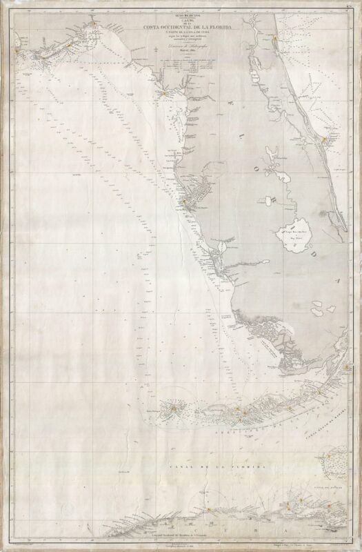 1866 Spanish Direccion de Hidrografica Map of Western Florida