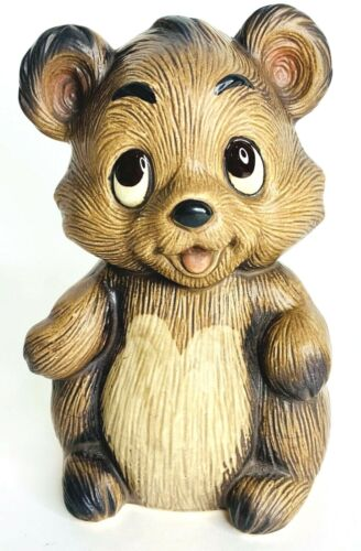 Vintage Ceramic Brown Baby Bear Cub Still Coin Piggy Bank with Stopper Japan