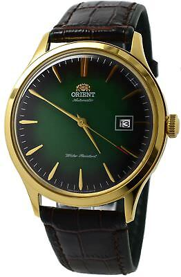 Orient Bambino Version 4 FAC08002F0 Green Dial Brown Leather Band Men's Watch
