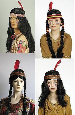 Perücke Indianer Squaw Häuptling Indianerperücke Indianerin Mädchen Junge Apache