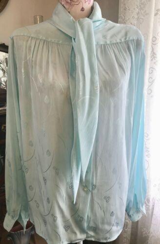 Vintage Grand Tier Silky Long Sleeved Blue Brocade Shirt Blouse Top L/XL
