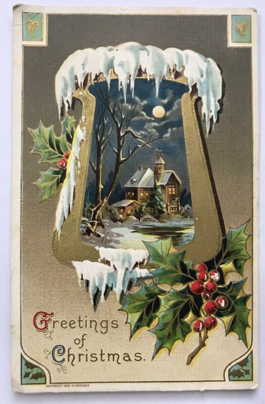 Greetings Of Christmas Postcard Icicles Inverted Scene Artist Wessler 1910 Holly