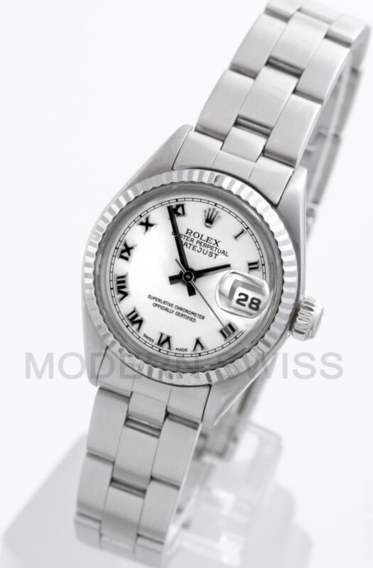 Rolex Ladies Datejust Steel White Roman Dial & Gold Fluted Oyster Perpetual 2yr