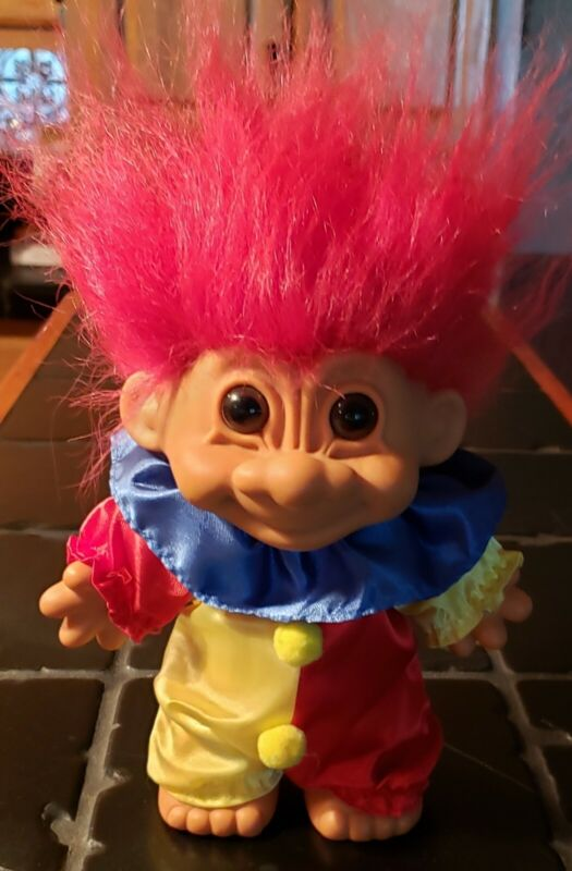 "Vintage ""Russ"" Large Clown Style Troll Doll Figurine"