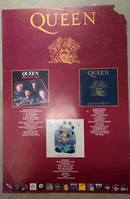 """QUEEN """"IT'S A HARD LIFE"""" U.K. COMMERCIAL POSTER FROM LATE 80s-Classic Rock Music"""