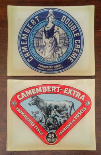 Camembert Fromage French Cheese Frosted Glass Advertising Plates